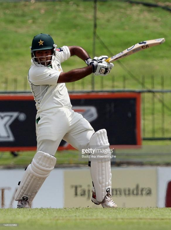 Asad Shafiq of Pakistan bats during day one of the third test between