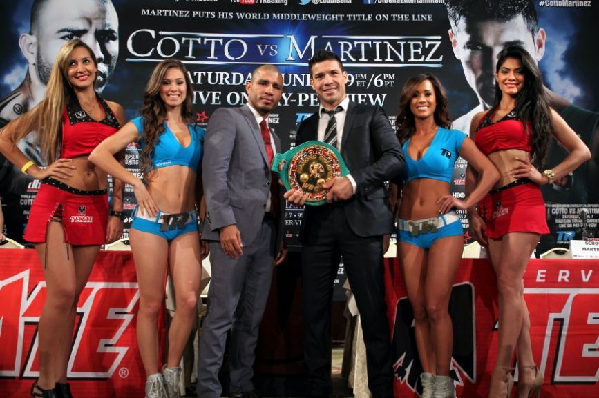 Cotto and Martinez with Title Belt