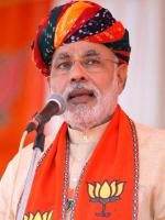 Narendra Modi with BJP Flag Photos