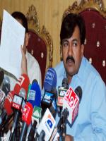 Syed Ayaz Ali Shah Sheerazi Answering to Media