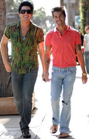Adam Lambert with his boyfriend Drake