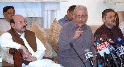 Mian Raza Rabbani With Qaim Ali Shah