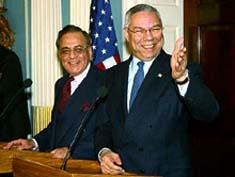 Khurshid Mahmud Kasuri with Colen Powel