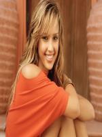 Jessica Alba in orange dress