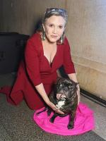 Carrie Fisher With Dog at Home