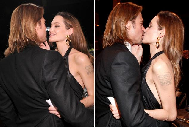 angelina jolie and brad kiss