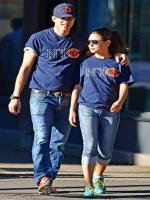 Mila Kunis with Ashton Kutcher while walking