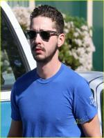 Shia LaBeouf in blue shirt