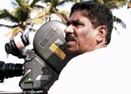 P. Bharathiraja durring shooting