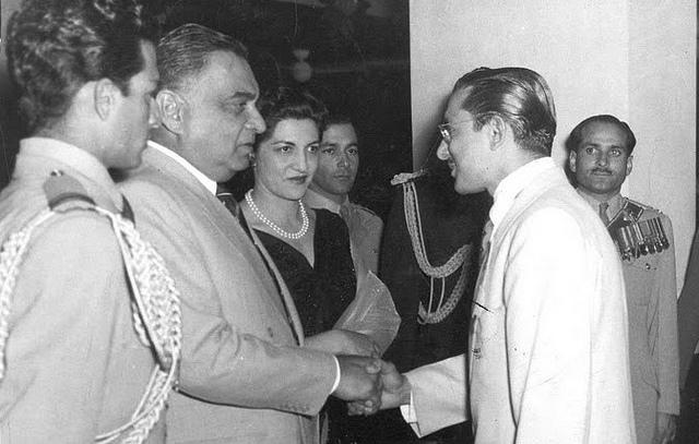 President Iskander Mirza and Begun Naheed Mirza receiving guests