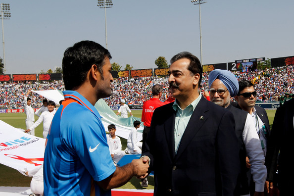 Yousaf Raza Gillani with Indian Cricket Captain