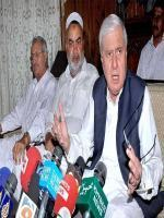 Mr Aftab Ahmad Khan Sherpao Taik to media