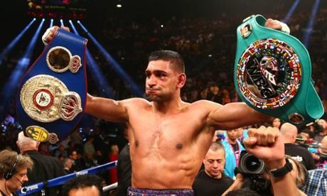 Amir Khan celebrates his victory against Luis Collazo at the MGM Grand