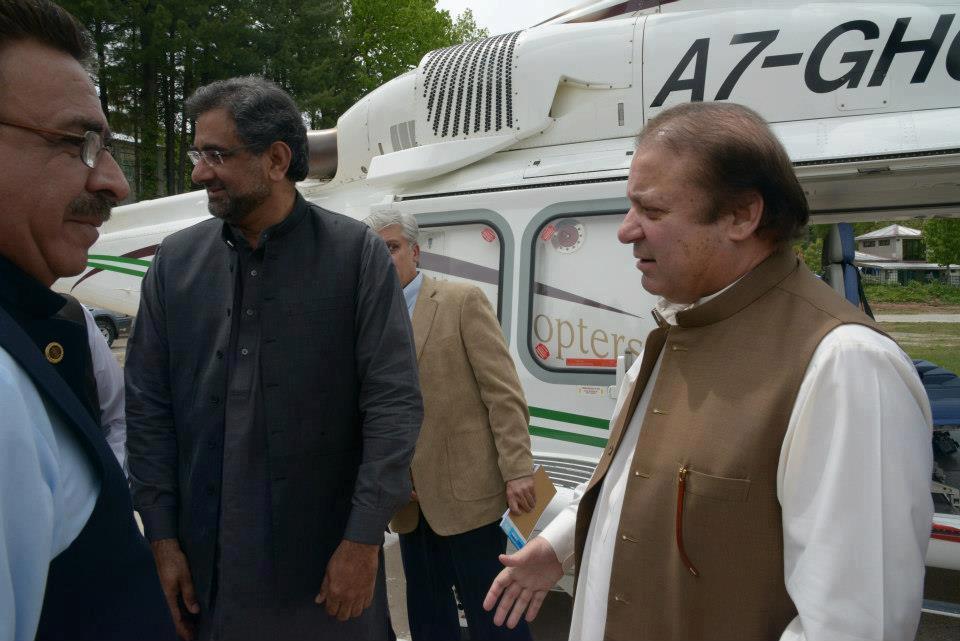 Shahid Khaqan Abbasi with Nawaz Sharif