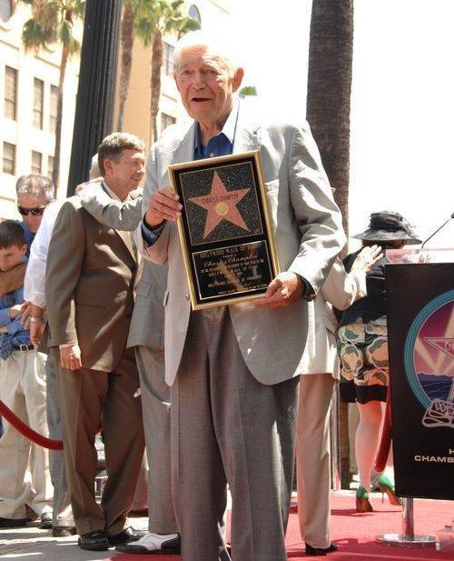 Charles Champlin Receiving an Award
