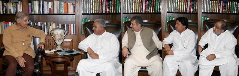 Haji Muhammad Akram Ansari with Shahbaz Sharif