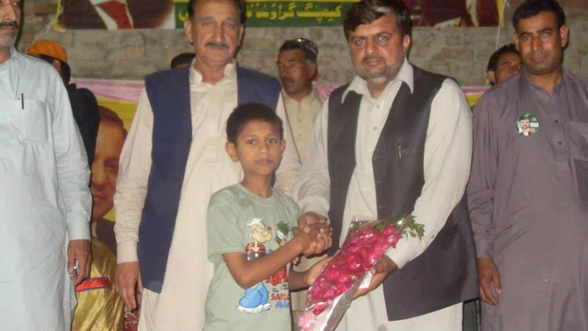 Ch Jaffar Iqbal reciving Flowers