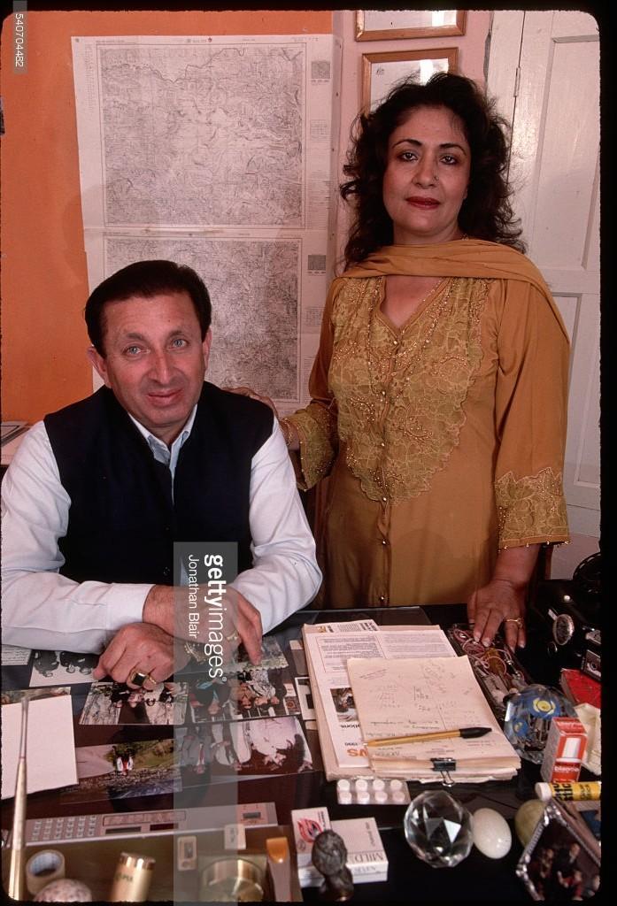 Mir Ghazanfar Ali Khan and his wife, Rani Atiga, in his office in Kari