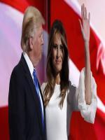 Melania Trump stands with her husband Republican U.S. presidential candidate Donald Trump