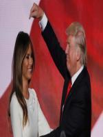 Melania Trump appears on stage with her husband, Donald Trump, at the Republican National