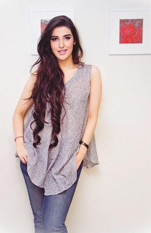 Hareem Farooq in Jeans With Scart