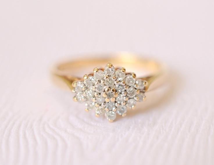 9k gold and diamonds ,engagement ring , VINTAGE WEDDING