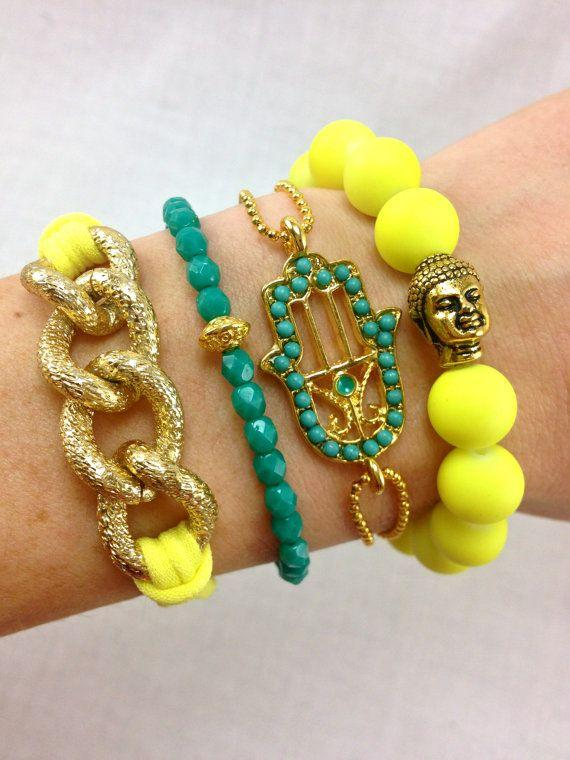 Canary Bracelet Stack in Neon Yellow and Teal