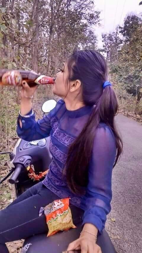 Desi Girl Drinking Beer