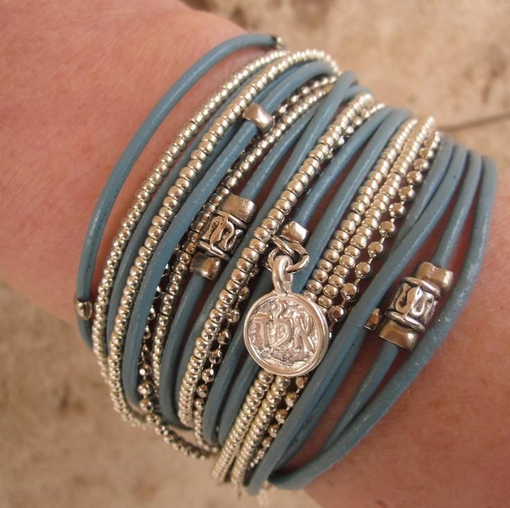 Boho Chic Endless Turquoise Leather Wrap Bracelet with Silver Accents