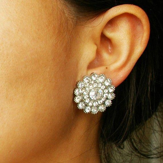 Crystal Bridal Stud Wedding Earrings, Vintage Style Bridal Jewelry, Rh