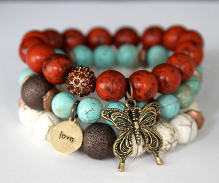 Boho Chic Butterfly and Love Charm Stretch Beaded Bracelets Impression