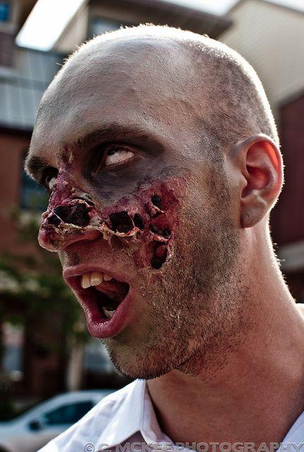 Awesome Zombie makeup for Halloween. It's amazing what liquid latex c