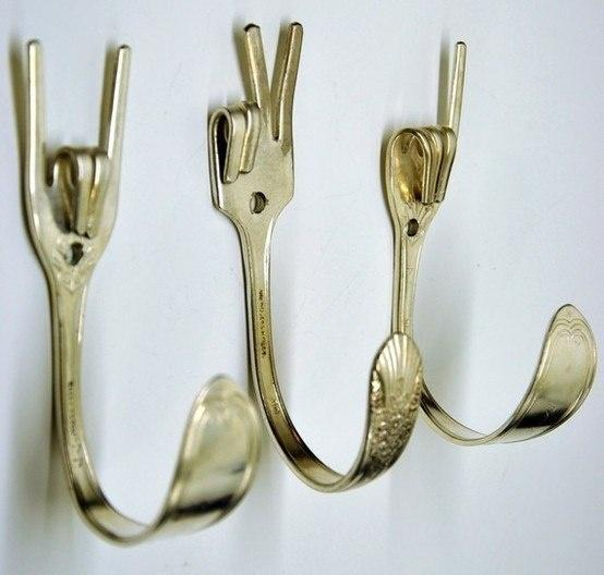 Old forks turned clever hooks