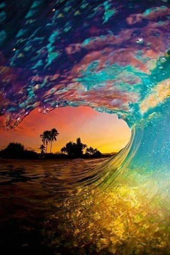 Sunset through a wave, Bora Bora... amazing shot!
