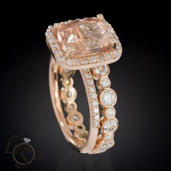 Morganite and Rose Gold Engagement Ring and Wedding Set with Bezel Set