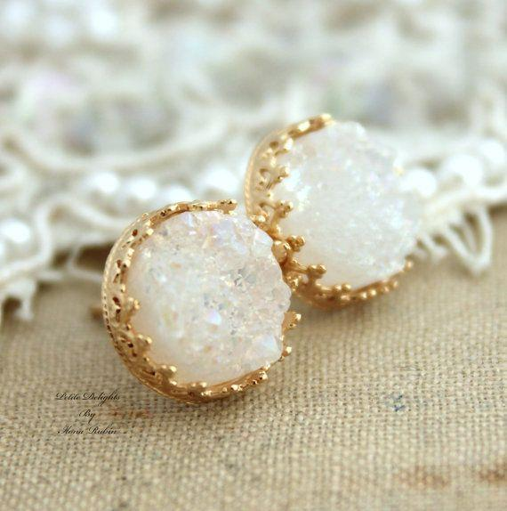 Golden studs White Druzy earrings bridal earrings - 14k Gold filled Cr