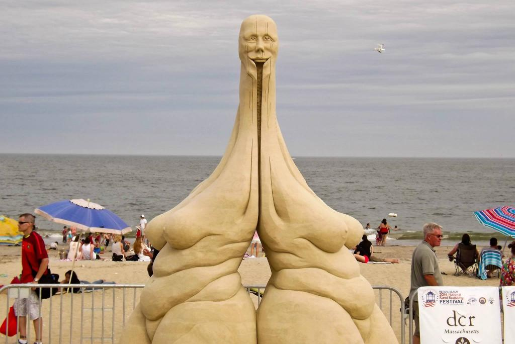 Officially the creepiest sand sculpture at Revere Beach this weekend.