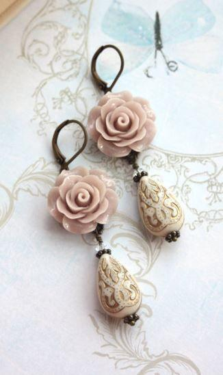A Light Brown Taupe, Cream Ivory Gold Ornate Bead Earrings. Gift for�