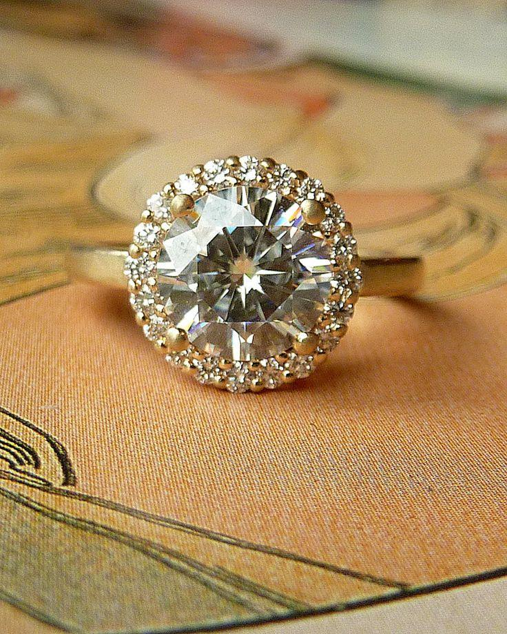 Round Moissanite and Diamond Halo Ring - 14k Yellow Gold
