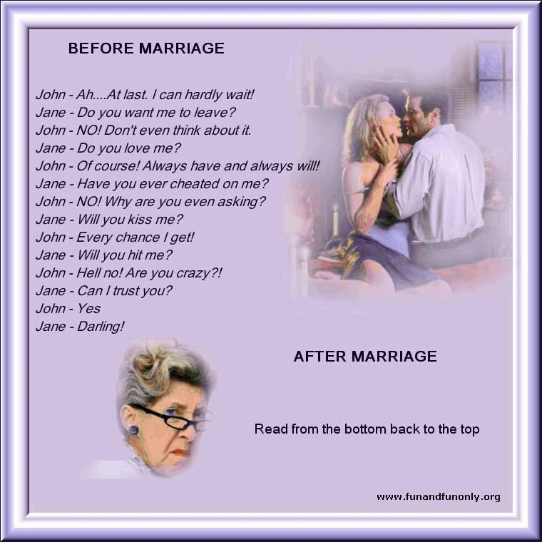 Marriage, before and after