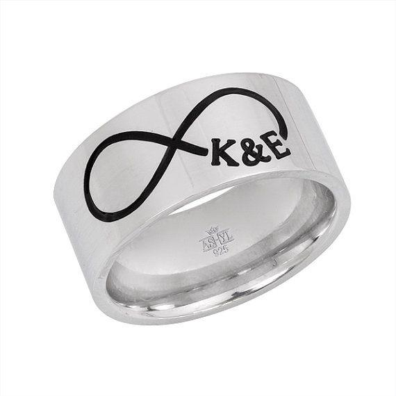 Infinity and initials engraved ring, silver wedding band, infinity ban