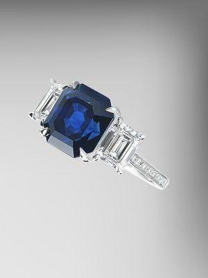 AGL Certified Blue Sapphire and Diamond Ring