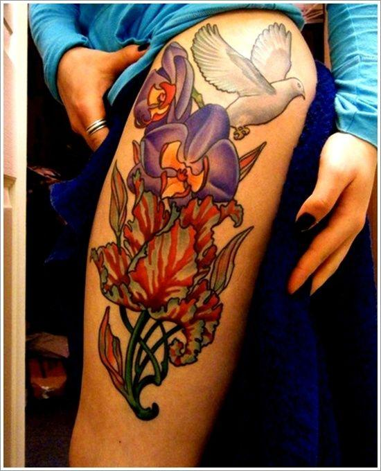 Pigeon And Orchid Tattoo Design For Girl On Thigh