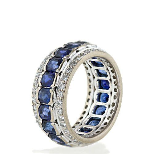Vintage Sapphire and Diamond Eternity Band