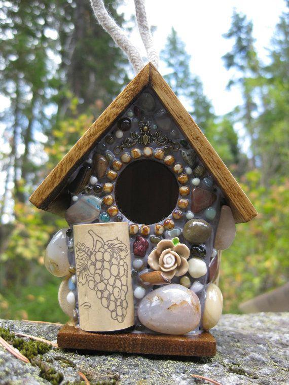 Birdhouse Walnut Up-cycled Wine Corks and Roses