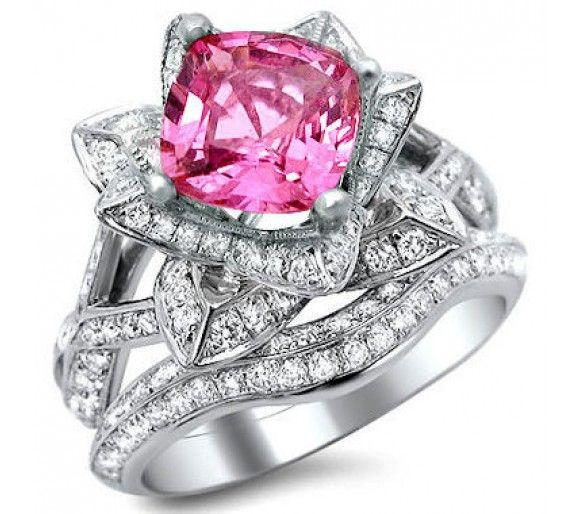 2.75ct Cushion Cut Pink Sapphire Lotus Flower Diamond Ring Bridal Set