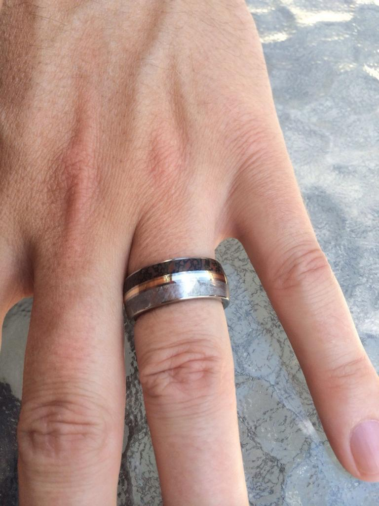 My wedding ring came! Meteorite and Dinosaur bone.