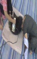funny girls iron her hair