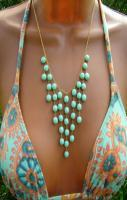 Seafoam Mint Glass Bead Bib Necklace.Draping Pastel Statement Necklace