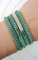 Chain Wrap Bracelet with Macrame in Fern and Champange Thread and a Bu